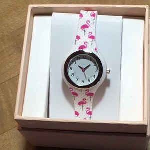 New Accutime watch with flamingo band.